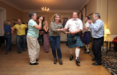 Dancing at the Wader Study group in Scotland